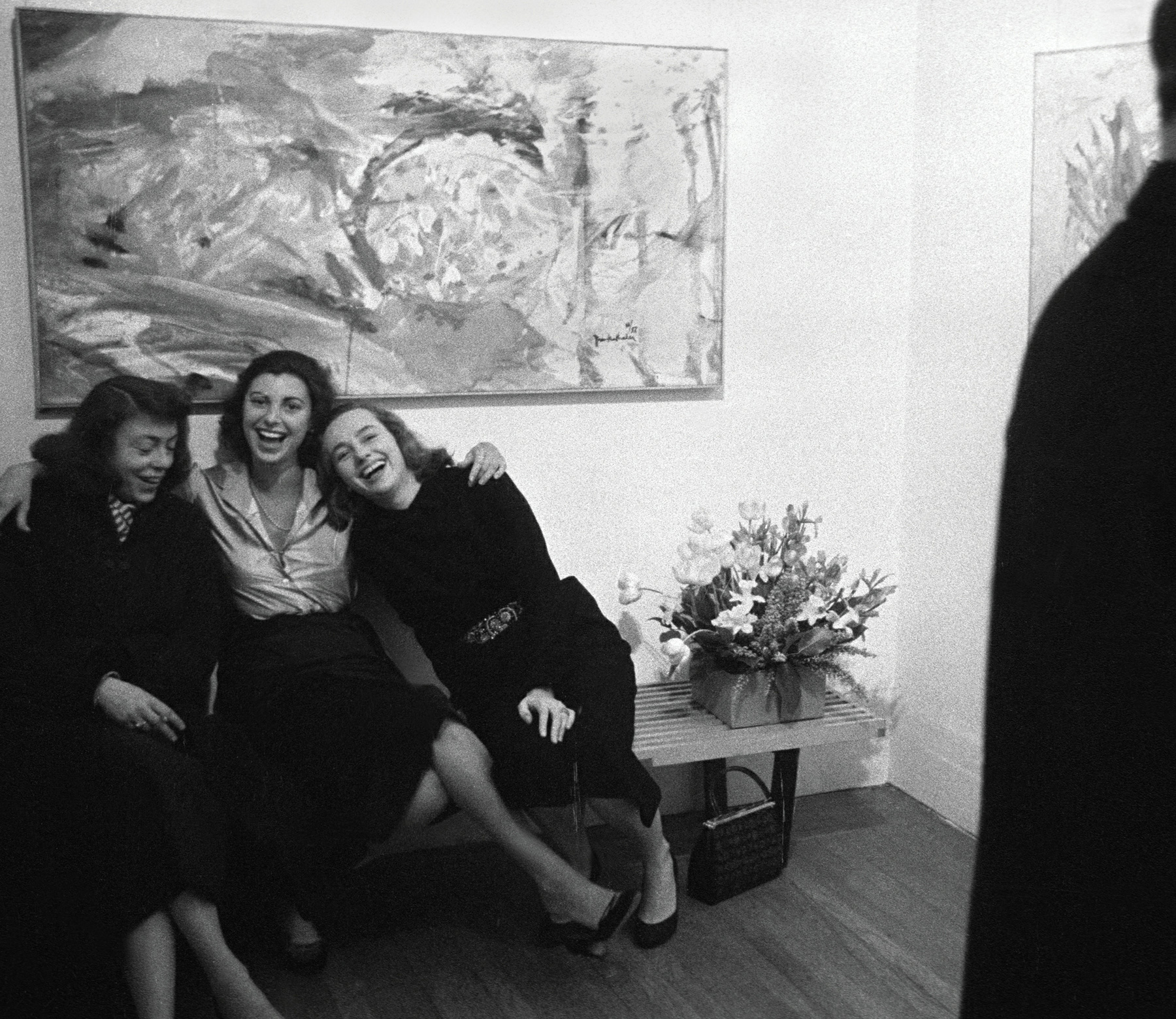 Joan Mitchell, Helen Frankenthaler, and Grace Hartigan at Helen's solo exhibition opening at Tibor de Nagy Gallery, New York, February 12, 1957 | Ninth Street Women | Five Painters and the Movement That Changed Modern Art | Little, Brown and Company | Mary Gabriel | STIRworld