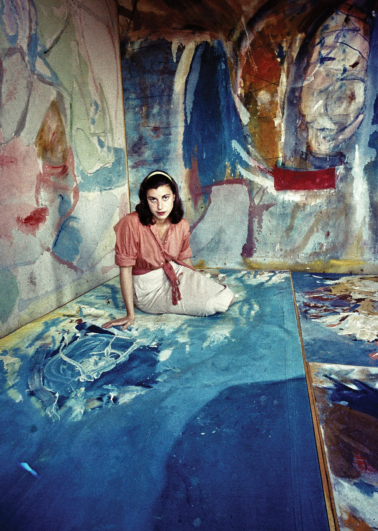 "Helen Frankenthaler in her West End Avenue studio for <em>LIFE</em> article ""Women Artists in Ascendance,"" May 13, 1957 