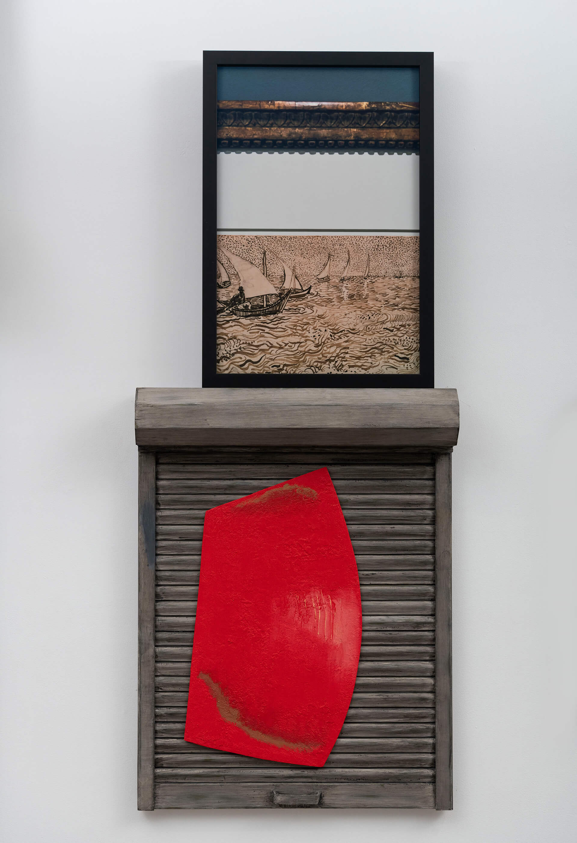 Red Sail, oil and polyester putty on galvanized steel, framed photographs printed on archival digital hahnemuehle bamboo paper 2019, by Atul Dodiya for Stammer in the Shade at Vadehra Art Gallery, till February 29 