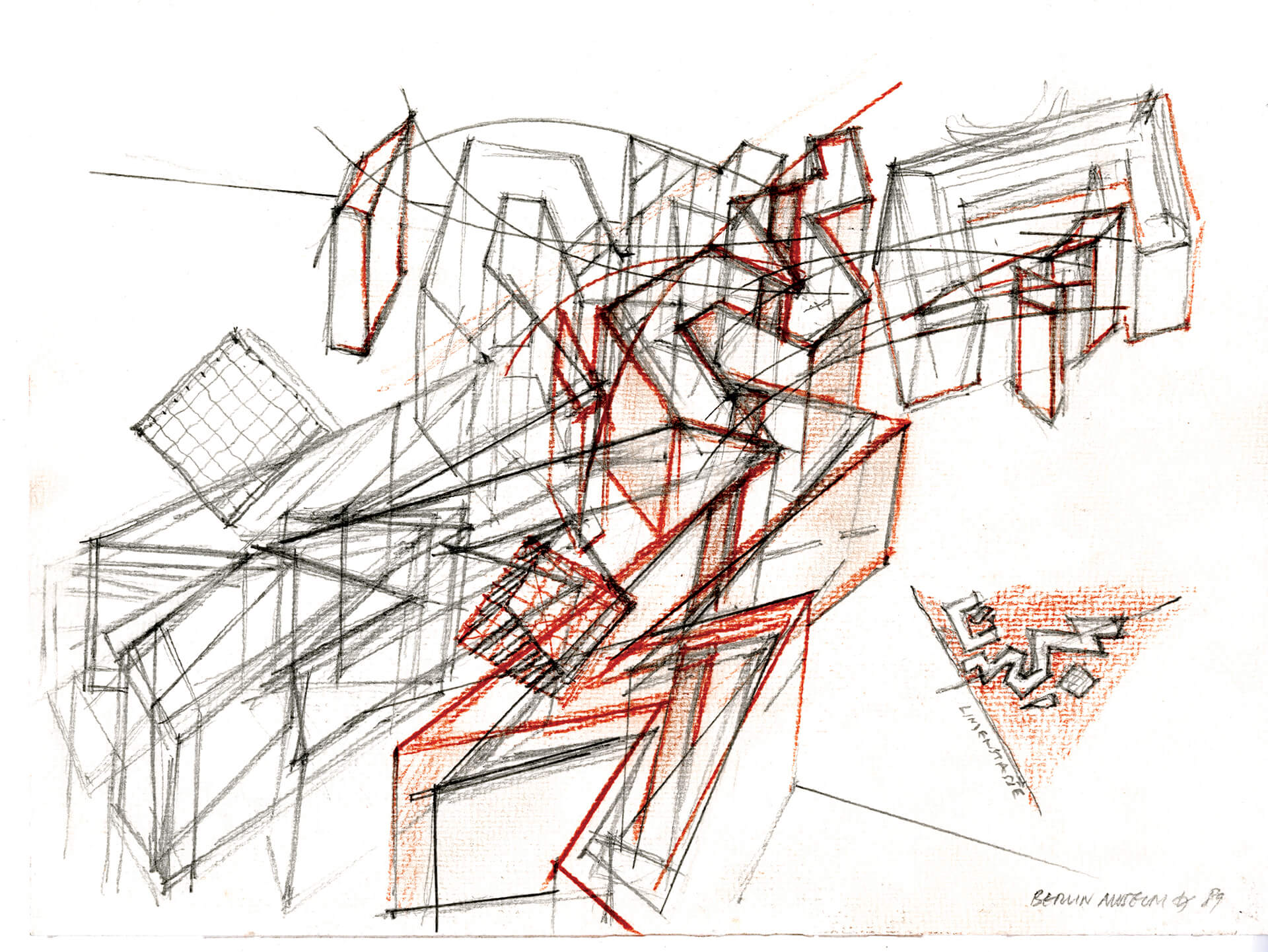 Set of five architectural drawings on pencil paper mine