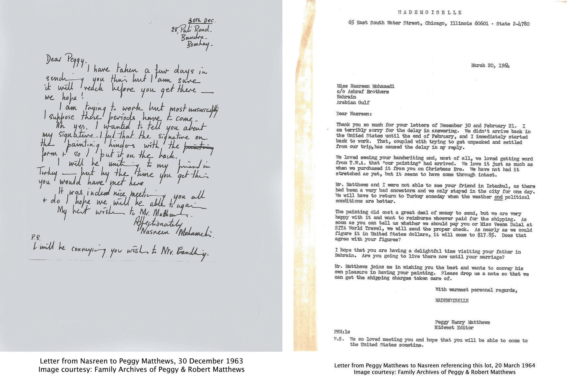 Letter exchange between Nasreen Mohamedi and Peggy Matthews | Sotheby's | Nasreen Mohamedi | STIRworld