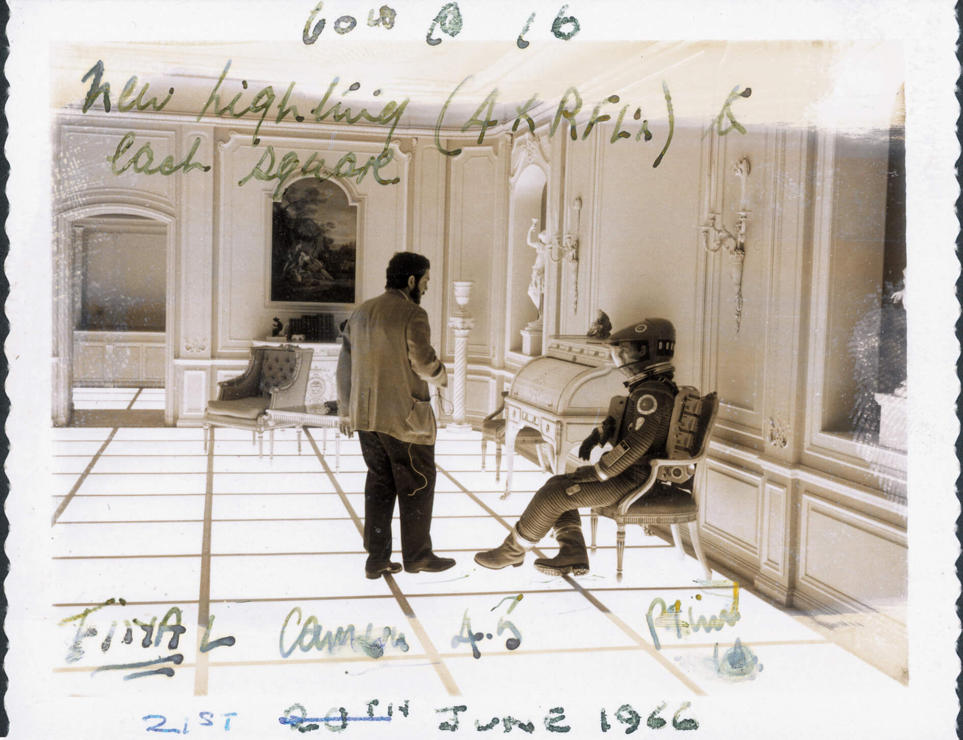 An annotated production still with Stanley Kubrick and Keir Dullea on the set of the Hotel Room in 2001: A Space Odyssey (1968) | Space Odyssey exhibition | Stanley Kubrick | STIRworld