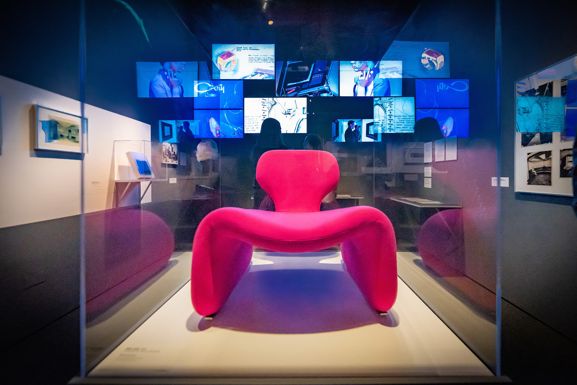 The iconic Djinn chair designed by Olivier Mourgue, seen in the Hilton Hotel lobby set of 2001: A Space Odyssey (on loan from Film and Furniture) | Space Odyssey exhibition | Stanley Kubrick | STIRworld